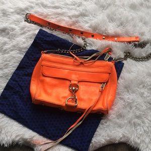 Neon orange Rebecca minkoff crossbody mini Mac bag